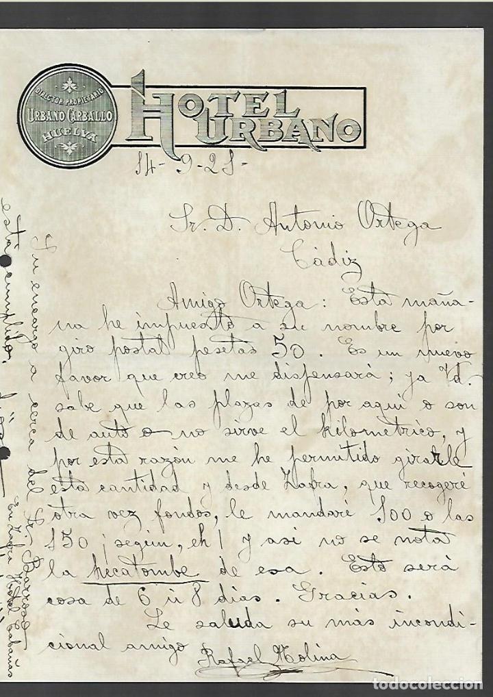 CARTA COMERCIAL. HOTEL URBANO. 1921. CADIZ. URBANO CARBALLO (Coleccionismo - Documentos - Cartas Comerciales)