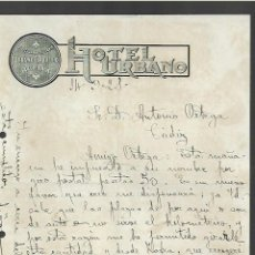 Cartas comerciales: CARTA COMERCIAL. HOTEL URBANO. 1921. CADIZ. URBANO CARBALLO. Lote 285206528
