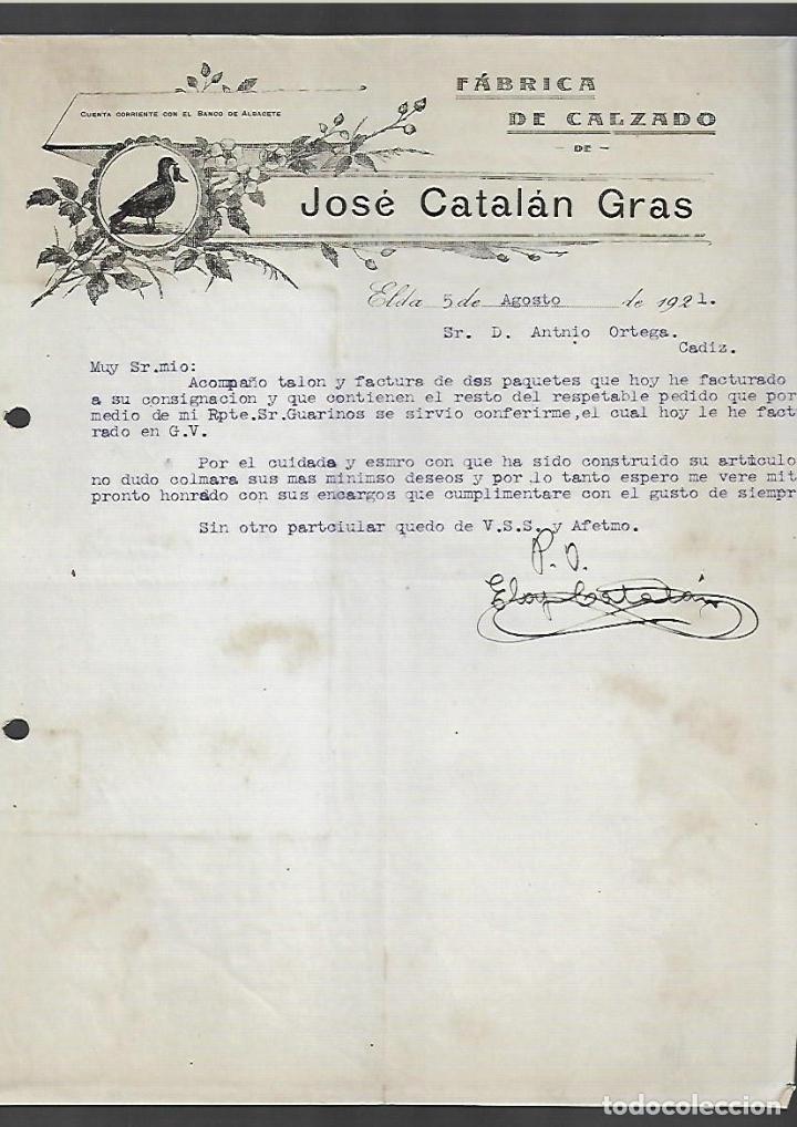 CARTA COMERCIAL. JOSE CATALAN GRAS. FABRICA DE CALZADO. 1921. ELDA (Coleccionismo - Documentos - Cartas Comerciales)