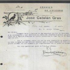 Cartas comerciales: CARTA COMERCIAL. JOSE CATALAN GRAS. FABRICA DE CALZADO. 1921. ELDA. Lote 285207938