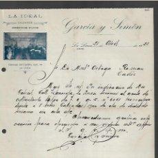 Cartas comerciales: CARTA COMERCIAL. GARCÍA Y SIMÓN. LA IDEAL. CALZADOS. LA LINEA, CADIZ. 1921.. Lote 285208263