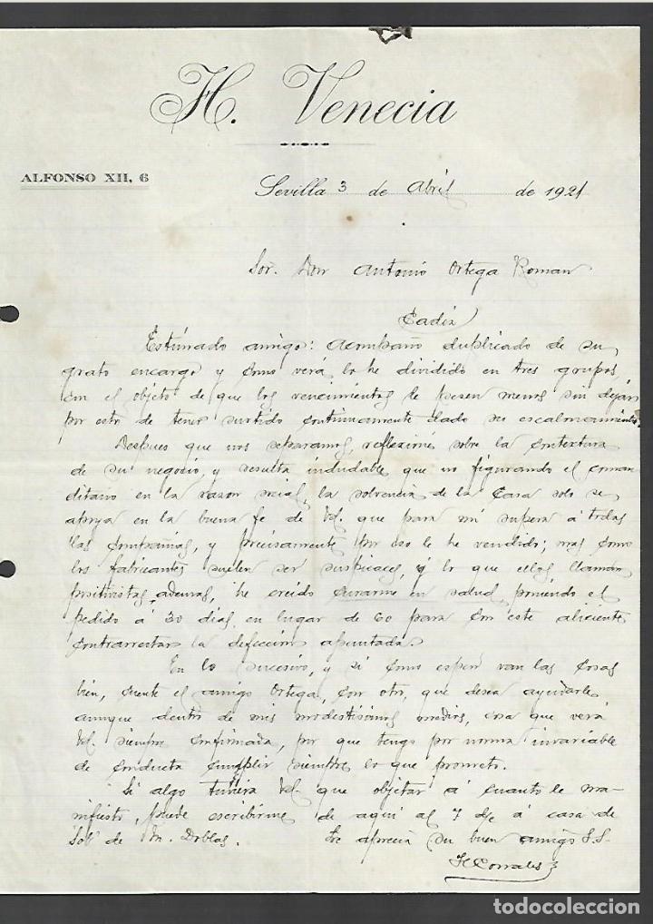 CARTA COMERCIAL. HOTEL VENECIA. 1921. SEVILLA (Coleccionismo - Documentos - Cartas Comerciales)