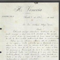 Cartas comerciales: CARTA COMERCIAL. HOTEL VENECIA. 1921. SEVILLA. Lote 285208323