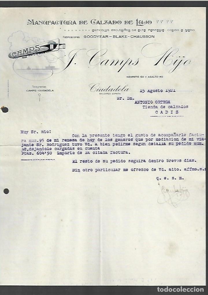 CARTA COMERCIAL. J. CAMPS HIJO. CALZADO DE LUJO. 1921. CIUDADELA, MENORCA (Coleccionismo - Documentos - Cartas Comerciales)
