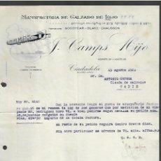 Cartas comerciales: CARTA COMERCIAL. J. CAMPS HIJO. CALZADO DE LUJO. 1921. CIUDADELA, MENORCA. Lote 285210523