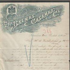Cartas comerciales: CARTA COMERCIAL. IMPRENTA Y LITOGRAFÍA. BALMAS CASAMAJÓ Y CIA. 1905. BARCELONA. Lote 285211593