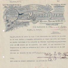Lettere commerciali: HIJO DE MELCHOR OTERO. ULTRAMARINOS Y COLONIALES. CRISTAL, LOZA, JABONES, GALLETAS Y PASTAS TRUJILLO. Lote 285212018