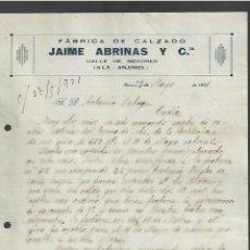 Cartas comerciales: CARTA COMERCIAL. FABRICA DE CALZADO. JAIME ABRINAS Y CIA. INCA, BALEARES. 1921. Lote 285213953