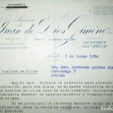 Cartas comerciales: ANÍS BOMBITA. SUCESOR DE JUAN DE DIOS GIMÉNEZ. CARTA COMERCIAL SOBRE ACEITES DE OLIVA DE 1954.. Lote 285612188