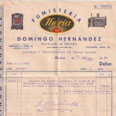 Cartas comerciales: FUMISTERIA IBERIA. DOMINGO HERNANDEZ. SUCESOR DE BELEÑA. CASA FUNDADA EN 1854. MADRID.. Lote 286281428