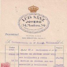 Lettere commerciali: FACTURA DE LA JOYERÍA DE LUIS SANZ JOYEROS. MADRID Y SAN SEBASTIAN. Lote 286283603