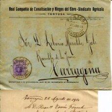 Cartas comerciales: CARTA DE RECLAMACIÓN A LA REAL CIA DE CANALIZACIÓN Y RIEGOS DEL EBRO EN TORTOSA- AÑO 1910. Lote 287423198