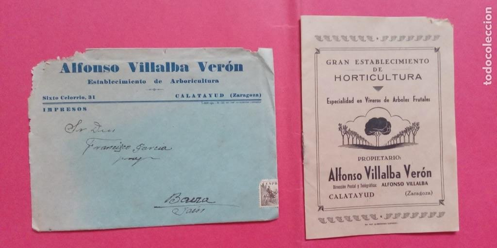 ALFONSO VILLALBA VERON.-ARBORICULTURA.-VIVEROS.-ARBOLES.-CARTA COMERCIAL.-CATALOGO.-CALATAYUD. (Coleccionismo - Documentos - Cartas Comerciales)