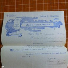 Lettere commerciali: VALL DE UXO CASTELLON FABRICA DE ALPARGATAS MANUEL GARCIA NAVARRO FACTURA 1912. Lote 287598608