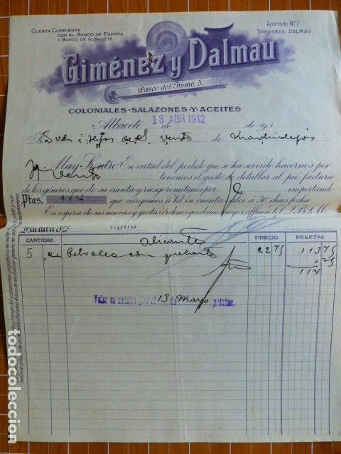 ALBACETE COLONIALES SALAZONES ACEITES GIMENEZ Y DALMAU FACTURA 1912 (Coleccionismo - Documentos - Cartas Comerciales)