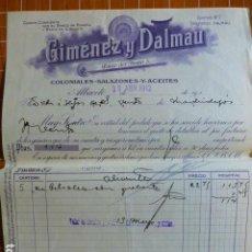 Cartas comerciales: ALBACETE COLONIALES SALAZONES ACEITES GIMENEZ Y DALMAU FACTURA 1912. Lote 287600003