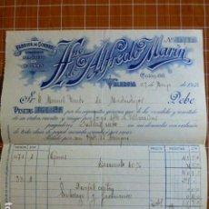 Cartas comerciales: VALENCIA FABRICA DE GORRAS HERMANO DE ALFREDO MARIN FACTURA 1931. Lote 287601108
