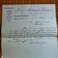 Cartas comerciales: JAEN COMESTIBLES JOSE ANTONIO GOMEZ CARTA COMERCIAL 1931. Lote 287601583