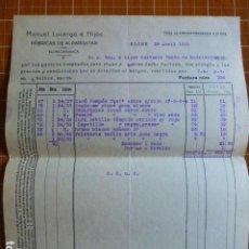 Cartas comerciales: ELCHE ALICANTE FABRICA DE ALPARGATAS DE MANUEL LUCERGA FACTURA 1931. Lote 287601668