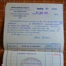 Cartas comerciales: VIGO PONTEVEDRA FABRICA ESCABECHES LA AMISTAD FACTURA 1931. Lote 287601733
