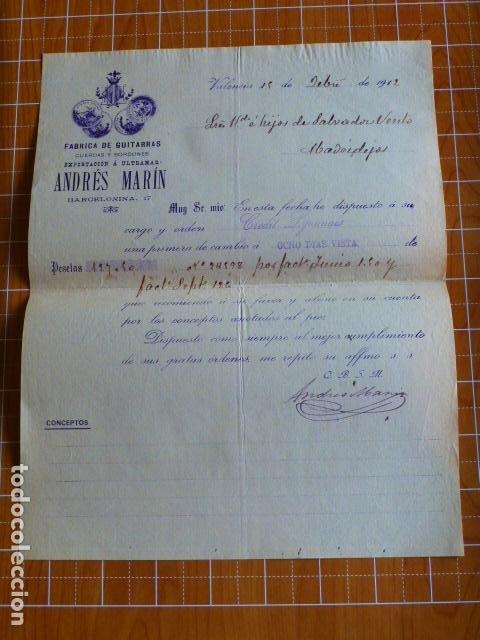 VALENCIA FABRICA DE GUITARRAS DE ANDRES MARIN CARTA COMERCIAL 1912 (Coleccionismo - Documentos - Cartas Comerciales)
