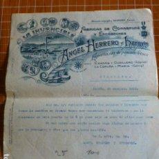 Lettere commerciali: CANDAS Y CUDILLERO ASTURIAS FABRICA DE CONSERVAS DE ANGEL HERRERO LA INVENCIBLE CARTA COMERCIAL 1912. Lote 287603708