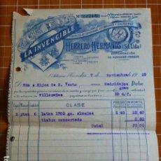 Cartas comerciales: CANDAS ASTURIAS FABRICA DE CONSERVAS DE ANGEL HERRERO LA INVENCIBLE FACTURA 1929. Lote 287603858