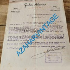 Lettres commerciales: CARTA COMERCIAL. MIRANDA DEL EBRO. 1944. JULIO ALONSO. EXPLOTACIONES FORESTALES Y ASERRADERO. Lote 287923723