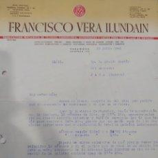 Cartas comerciales: CARTA FRANCISCO VERA ILUNDÁIN ZARAGOZA 1945. Lote 293747058