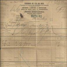 Cartas comerciales: TRASPORTE HISPANO - FRANCÉS DE 1888. CARTA DE TRASPORTE ENTRE EL MEDIODÍA FRANCÉS Y ESPAÑA. Lote 295810753