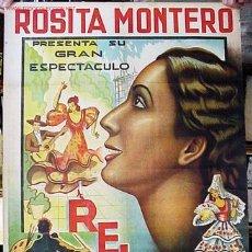 Carteles Espectáculos: CARTEL DE ESPECTACULOS RELIEVES, AÑOS 1930 - ROSITA MONTERO - LITOGRAFIA. Lote 26606283