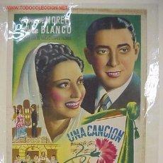 Carteles Espectáculos: PRECIOSO CARTEL DE TEATRO UNA CANCION Y UN CLAVEL - LITOGRAFIA. Lote 26724254