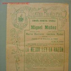 Carteles Espectáculos: TEATRO PRINCIPAL, COMPAÑIA DRAMATICA ESPAÑOLA DE MIGUEL MUÑOZ. Lote 16277540