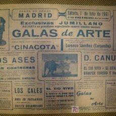 Carteles Espectáculos: MADRID. CARTEL COMICO TAURINO MUSICAL . 1961. Lote 10594293