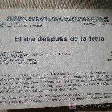 Carteles Espectáculos: FICHA TEATRO: EL DIA DESPUES DE LA FERIA. FRANK HARVEY (ESLAVA DE MADRID, 1974). Lote 23780408