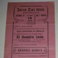Carteles Espectáculos: ANTIGUO CARTELITO PROGRAMA DE CIRCO 15 DE OCTRUBRE DE 1921 PORTUGALETE (VIZCAYA) - EL HOMBRE LEON, K. Lote 14029404
