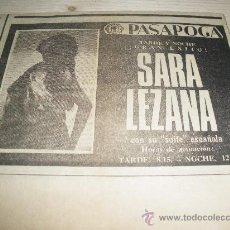 Carteles Espectáculos: SARA LEZANA CON SU SUITE ESPAÑOLA EN EL PASAPOGA DE MADRID. 1968.. Lote 14177830