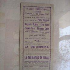Carteles Espectáculos: TARRASA (BARCELONA) - TEATRO, ACTUACION GRAN COMPAÑIA LIRICA - ENERO DE 1943. Lote 23018192