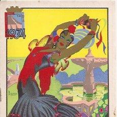Carteles Espectáculos: MALAGA PROGRAMA DE LA FERIA AÑO 1934 14 X 20 CTMS. 12 PAGINAS.. Lote 17770941