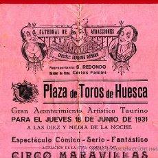 Carteles Espectáculos: CARTEL CIRCO - GRAN CIRCO MARAVILLAS - HUESCA - 1931 - CIR12. Lote 26272669