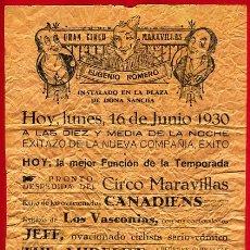 Carteles Espectáculos: CARTEL CIRCO - GRAN CIRCO MARAVILLAS - HUESCA - AÑOS 20-30 - CIR23. Lote 23294298