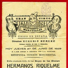 Carteles Espectáculos: CARTEL CIRCO - GRAN CIRCO MARAVILLAS - JACA - 1929 - CIR77. Lote 24288844
