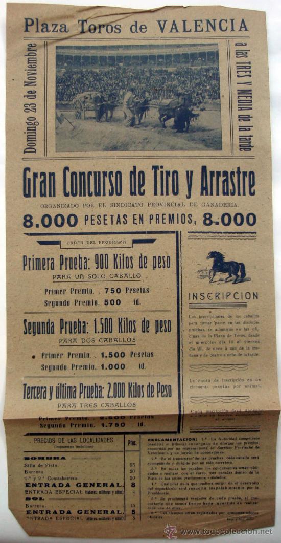 CARTEL ESPECTACULO COSTUMBRISTA, CONCURSO DE TIRO Y ARRASTRE, VALENCIA AÑOS 30-40 (Coleccionismo - Carteles Gran Formato - Carteles Circo, Magia y Espectáculos)
