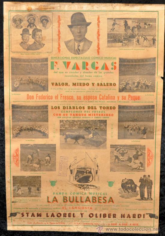 CARTEL ANTIGUO DE F. VARGAS. ESPECTACULO COMICO MUSICAL. AÑOS 50S. GORDO Y FLACO, LA BULLABESA... (Coleccionismo - Carteles Gran Formato - Carteles Circo, Magia y Espectáculos)