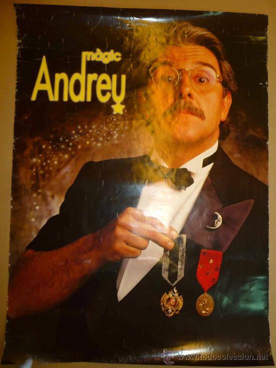 CARTEL, MAGIA, ILUSIONISMO, PUBLICITARIO, MAGIC ANDREU,MEDIDAS: 86X63 CM (Coleccionismo - Carteles Gran Formato - Carteles Circo, Magia y Espectáculos)
