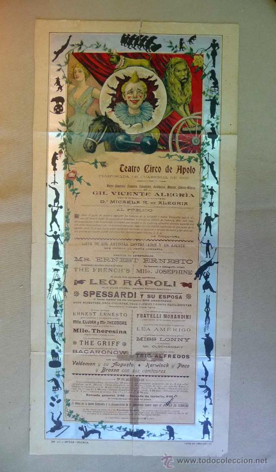 Carteles Espectáculos: RARO Y UNICO CARTEL, POSTER, TEATRO CIRCO APOLO, 1902, LITOGRAFIA ORTEGA, VALENCIA, CIRCO - Foto 3 - 22821568