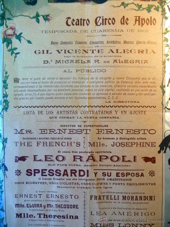 Carteles Espectáculos: RARO Y UNICO CARTEL, POSTER, TEATRO CIRCO APOLO, 1902, LITOGRAFIA ORTEGA, VALENCIA, CIRCO - Foto 6 - 22821568