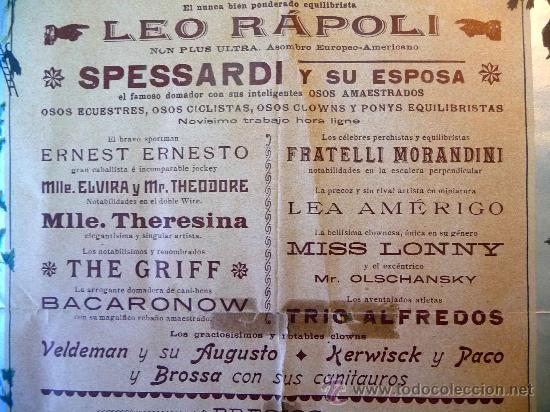 Carteles Espectáculos: RARO Y UNICO CARTEL, POSTER, TEATRO CIRCO APOLO, 1902, LITOGRAFIA ORTEGA, VALENCIA, CIRCO - Foto 7 - 22821568