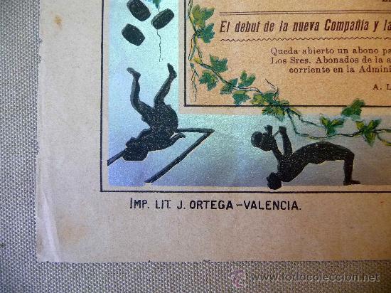 Carteles Espectáculos: RARO Y UNICO CARTEL, POSTER, TEATRO CIRCO APOLO, 1902, LITOGRAFIA ORTEGA, VALENCIA, CIRCO - Foto 9 - 22821568