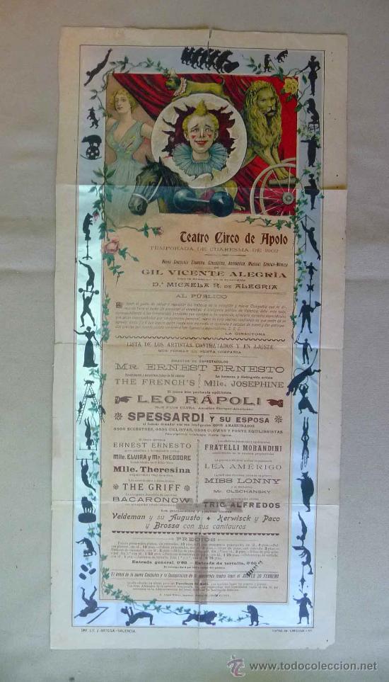 Carteles Espectáculos: RARO Y UNICO CARTEL, POSTER, TEATRO CIRCO APOLO, 1902, LITOGRAFIA ORTEGA, VALENCIA, CIRCO - Foto 2 - 22821568